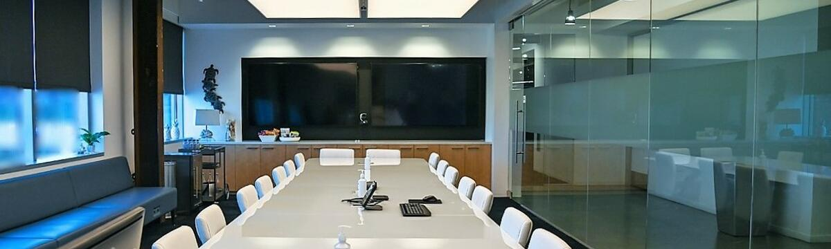 Glass-Walled Conference Room